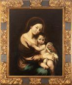 Spanish school, late 17th century.  Follower of Murillo. Virgin with Child.