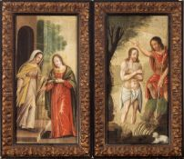 Flemish school, 17th century. The Baptism of Christ and The Visitation.