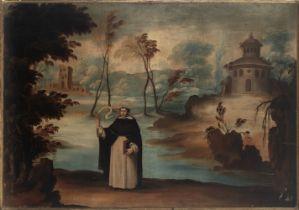 Castillian school, 17th century. Circle of Benito Manuel Agüero.Landscape with Saint Vicent Ferrer.