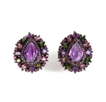 blued silver earring, cabochon cut amethyst, pink sapphires and green garnets in different sizes.