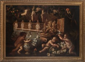 Italian school, 17th century. Garden with fountain and cupids.