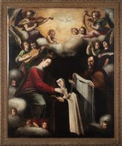Sevillan school, 17th century. Teresa of Avila Receives the Veil andNecklacefrom the Virgin and St