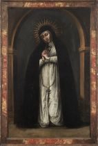 Spanish colonial school, Mexico, 17th century. True Portrait of Our Lady of Solitude from Victoria C