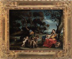 Flemish school, 17th century. Follower of Peter Paul Rubens. Rest on the flight into Egypt.