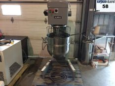 Mixer 60 qt Aluminox model MX60 with accessories & safety guard, operates on 400-440V but comes with