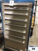 Industrial Metal Drawer Cabinet,9 drawers, 30 wide, 18 deep, 59 high. Cabinet locked, key lostItem