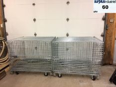 2 Movable galvanized steel cages, measures 48 '' x 38 '' x 34 '' high, total height is 41 ''. *NEW