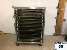 Stainless steel drying trays, tray ladder, movable stand, holds 24 stainless steel trays 40 '' x