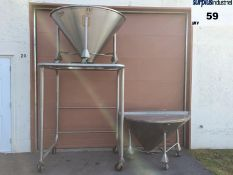 Lot of 2 large stainless steel hoppers with two-part lids and support for emptying. The hoppers