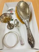 Tray of silver items, includes spoon, brush etc