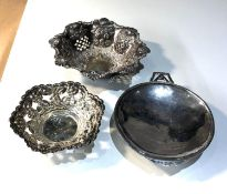 3 silver bowls 2 xrt as silver the other Birmingham silver hallmarks weight 112g