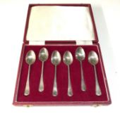 Boxed set of 6 ship silver tea spoons Sheffield silver hallmarks