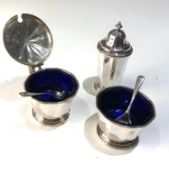Vintage silver and blue glass liner cruet et birmingham silver hallmarks with spoons