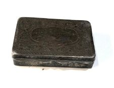 Antique silver snuff box engraved presentation on lid measures approx 7cm by 4.5cm 1.5cm deep worn