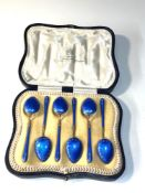 Antique boxed silver and enamel tea spoons in overall good condition one spoon has enamel wear to