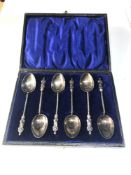 Boxed set of 6 silver apostle spoons