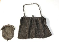 2 hallmarked silver mesh purses small one has damaged hinge as shown weight 120g