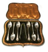 Boxed silver tea spoons and sugar tongues london silver hallmarks