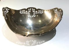 Large antique silver pierced fruit bowl sheffield silver hallmarks measures approx 26cm by 20cm