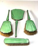 Antique silver and enamel brush and mirror set enamel wear