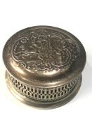 Vintage silver pierced scenic embossed lid jewellery box measures approx 10cm dia height 5.7cm