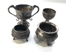 Selection of indian silver items includes salts etc total weight 200g xrt tested as 800 silver
