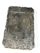 Antique silver Nathaniel mills engraved hunting scene card case meaures approx 8cm by 5cm