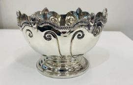 Hallmarked silver rose bowl, some pin dents / dents, age related wear, approximate weight 331g
