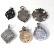 Selection of silver pocket watch chain fobs
