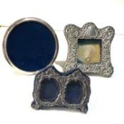 3 small silver picture frames largest measures approx 12.5cm dia