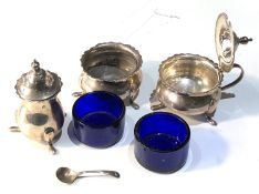 Antique silver cruet set with blue glass liners Birmingham silver hallmarks silver weigt without
