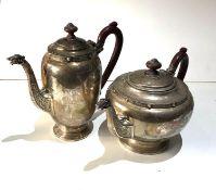 Antique celtic design silver tea pot and coffee pot total weight 1200g birmingham silver hallmarks