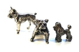 3 dutch silver dog figures all with dutch silver hallmarks largest measures approx 3.1cm by 2.4cm