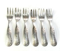 set of 6 antique dutch silver pastry forks each measure approx 10.5cm