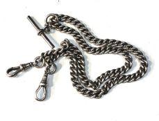 Antique silver double Albert watch chain weight 48g