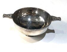 Sterling silver hallmarked celtic design Quaich wine taster presentation engraved measures approx