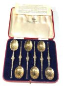 Boxed set of 6 WALKER & HALL coronation anointing spoons