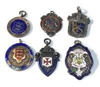 6 antique silver & enamel pocket watch chain fobs 80g