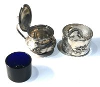 Antique Chinese silver mustard and napkin ring Chinese silver hallmarks as shown silver weight