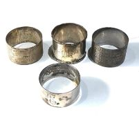 4 vintage silver napkin serviette rings weight 103g