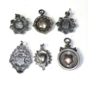 6 antique silver pocket watch chain fobs 43g