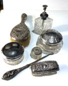 Silver dressing table items includes brush silver top jars etc