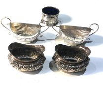 2 pairs of antique silver salts plus 1 other