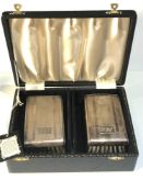 Vintage boxed pair of Antique silver clothes brushes Birmngham silver hallmarks