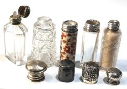 5 small antique silver top scent bottles largest measures approx 6.2cm age related bumps and dents