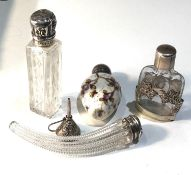 4 small antique silver top scent bottles largest measures approx 9cm lid hinge pin missing age