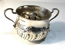 Antique silver porringer measures approx 14cm wide by height 7.8cm london silver hallmarks weight