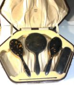 Antique tortoiseshell and silver brush set not complete missing brush poor condition