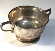 2 handle silver bowl measures approx 20cm wide height 9cm weight 257g London silver hallmarks