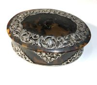 Large antique tortoiseshell and silver mounted box measures approx 19cm by 15cm height 6cm good
